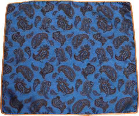 Carlo Franco Silk Pocket Square Woven of Blue with Brown Paisley