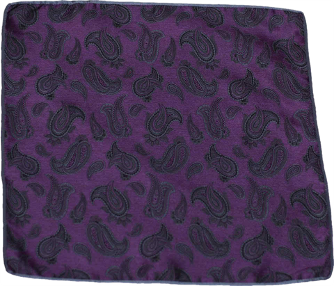 Carlo Franco Silk Pocket Square Woven of Deep Purple with Black and Gray Paisley