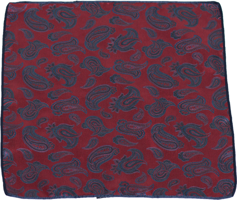 Carlo Franco Silk Pocket Square Woven of Dark Red with Blue and Black Paisley