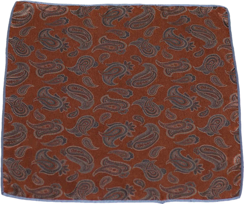 Carlo Franco Silk Pocket Square Woven of Rust and Brown Paisley