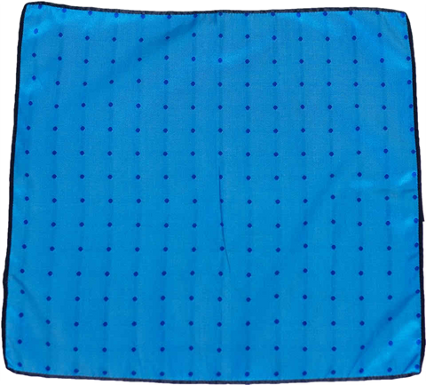 Carlo Franco Silk Pocket Square Woven of Aqua Blue with a Royal Blue Dot