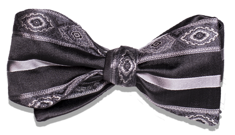 Pozallo Bow Tie - Our most elegant formal tie of dark gray (black?) with silver stripes and medallions.