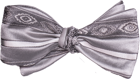 Pozallo Bow Tie - Our most elegant formal tie of silver with gray stripes and medallions.