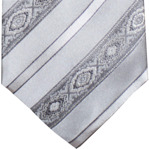 Pozallo - Our most elegant formal tie of silver with gray stripes and medallions.