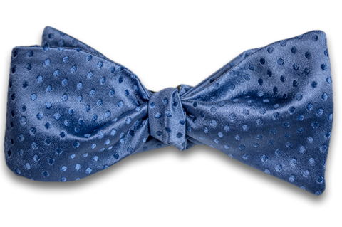 Ragusa - Medium Blue Satin Silk Self Tie Bow Tie with Tone on Tone Dots