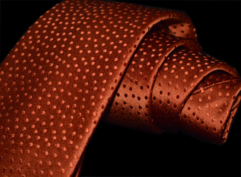Ragusa - Burnt Orange on Burnt Orange Dotted Satin Silk