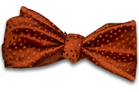 Ragusa - Burnt Orange Satin Silk Self Tie Bow Tie with Tone on Tone Dots