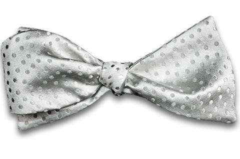 Ragusa - Silver Gray Satin Silk Self Tie Bow Tie with Tone on Tone Dots