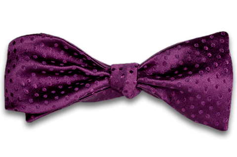 Ragusa - Wine Satin Silk Self Tie Bow Tie with Tone on Tone Dots