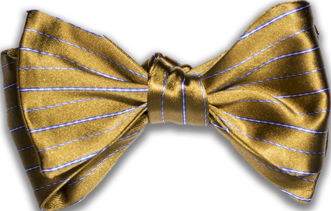 Sortino - Yellow with Navy Blue and White Silk Bow Tie