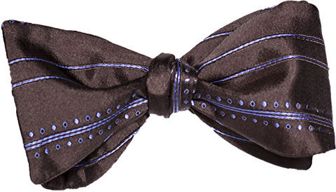 Siracusa - Chocolate and Light Blue Silk Bow Tie
