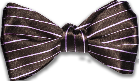 Sortino - Chocolate Brown with Pink and White Silk Bow Tie
