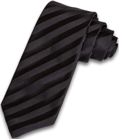 Trapani - Black on Black Satin Silk Striped