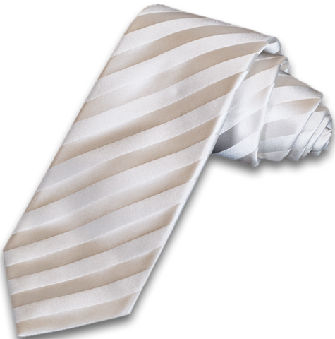 Trapani - Ivory on Ivory Satin Silk Striped