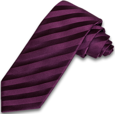 Trapani - Plum Wine on Wine Satin Silk Striped