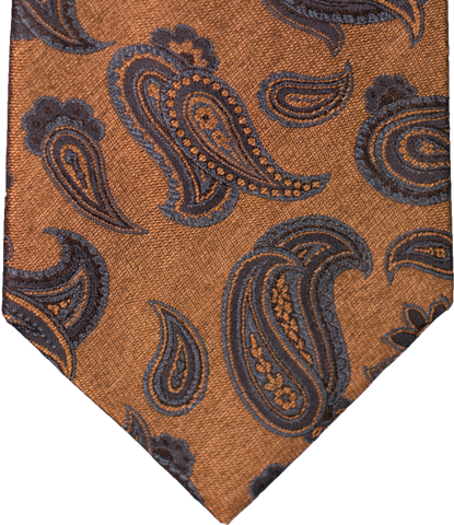 Nicolosi - Antique Gold with teal and black Woven Paisley Silk
