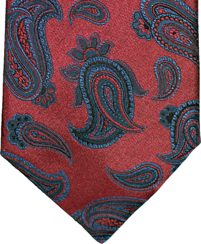 Nicolosi - Red with teal blue and black Woven Paisley Silk