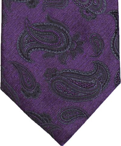 Nicolosi - Purple with gray and black Woven Paisley Silk