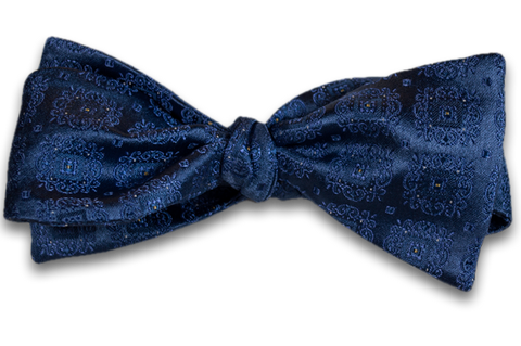 Vittoria - Medium Blue Satin Silk Self Tie Bow Tie with Tone on Tone Medallions