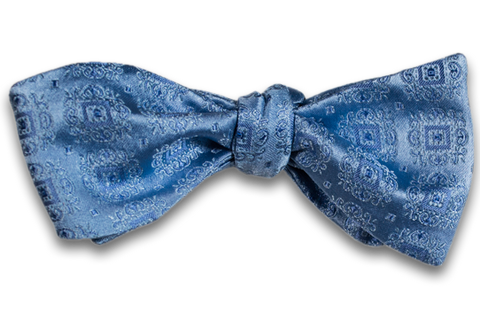 Vittoria - Light Blue Satin Silk Self Tie Bow Tie with Tone on Tone Medallions