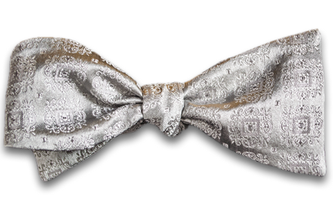 Vittoria - Silver Gray Satin Silk Self Tie Bow Tie with Tone on Tone Medallions