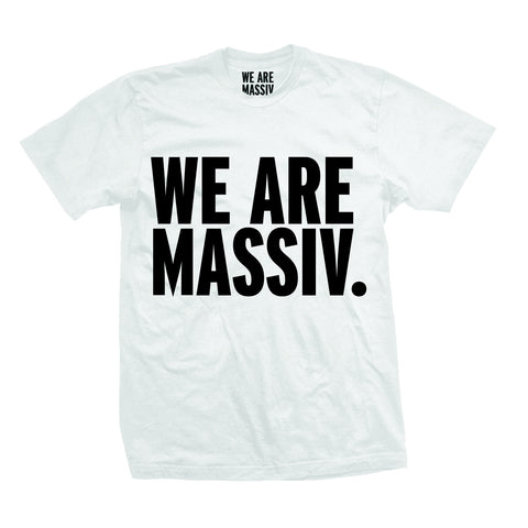 WE ARE MASSIV. (STACKED LOGO) WHITE