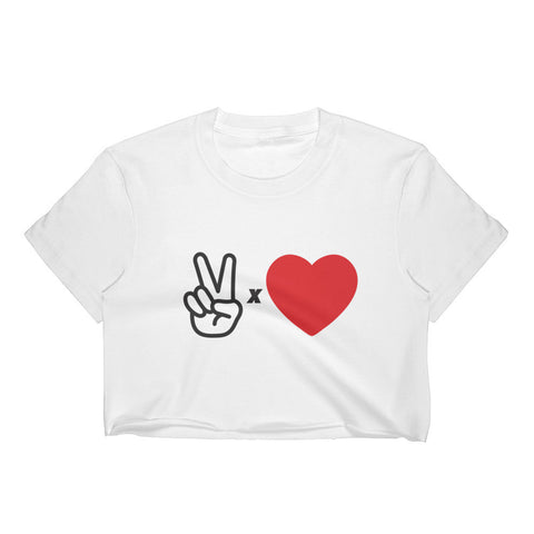 """PEACE X LOVE"" CROPPED TEE (WHITE)"