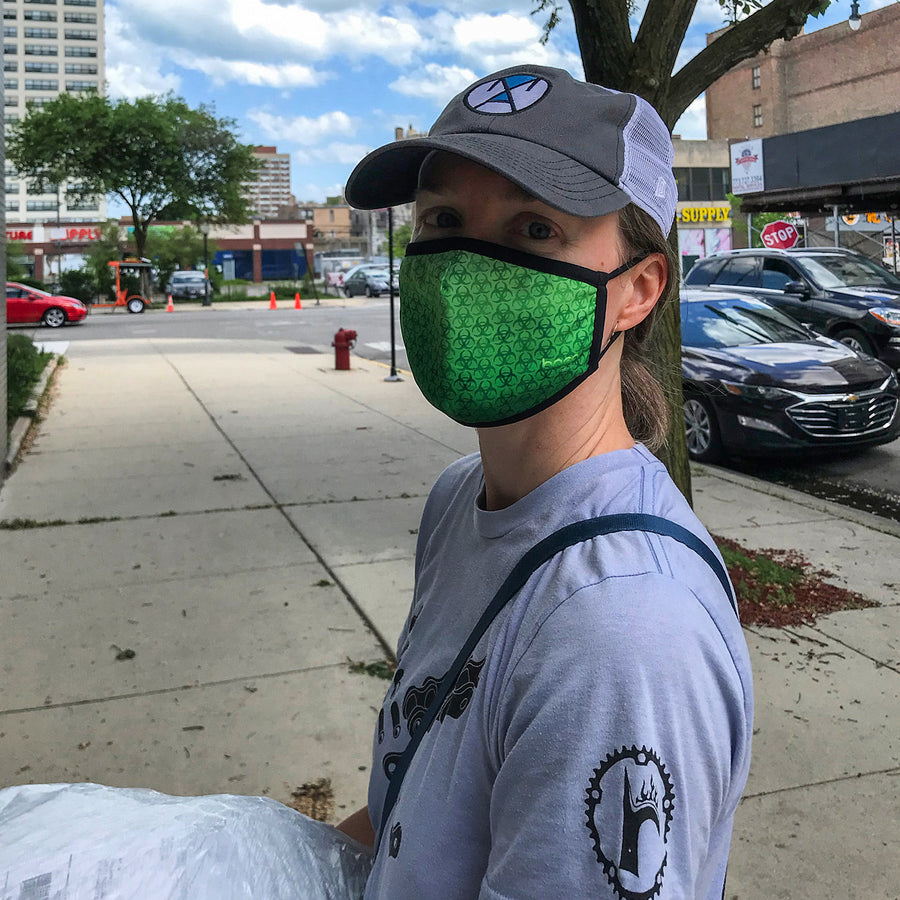 HazMat performance face mask on model, lightweight and moisture-wicking, quick dry mask at ridebackwards.com