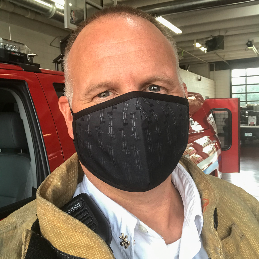 Irons Performance Mask, lightweight, moisture-wicking and quick-drying on firefighter, internal pocket slit for additional filter at ridebackwards.com