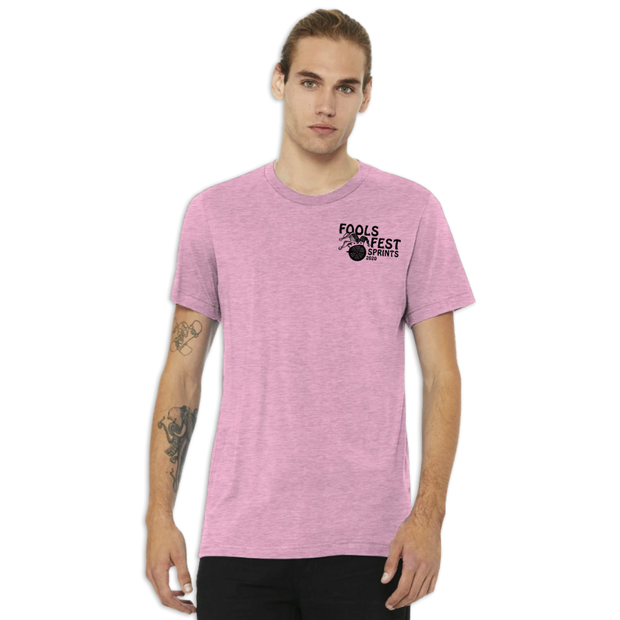 2020 Fools Fest Sprints race tee - heather prism lilac -front - on model - ridebakcwards.com