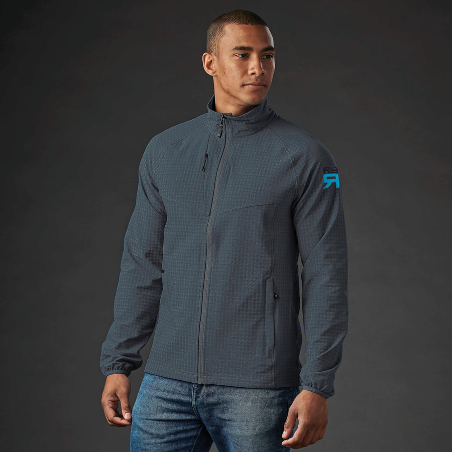 Kyoto jacket on model - wind resistive, stretch pocketed training jacket with waffle fleece interior, zip side pockets, internal pockets and media port at ridebackwards.com