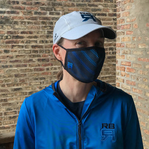 RBR Blade performance mask on model, lightweight and moisture wicking, quick drying, breathable, rowing face mask at ridebackwards.com