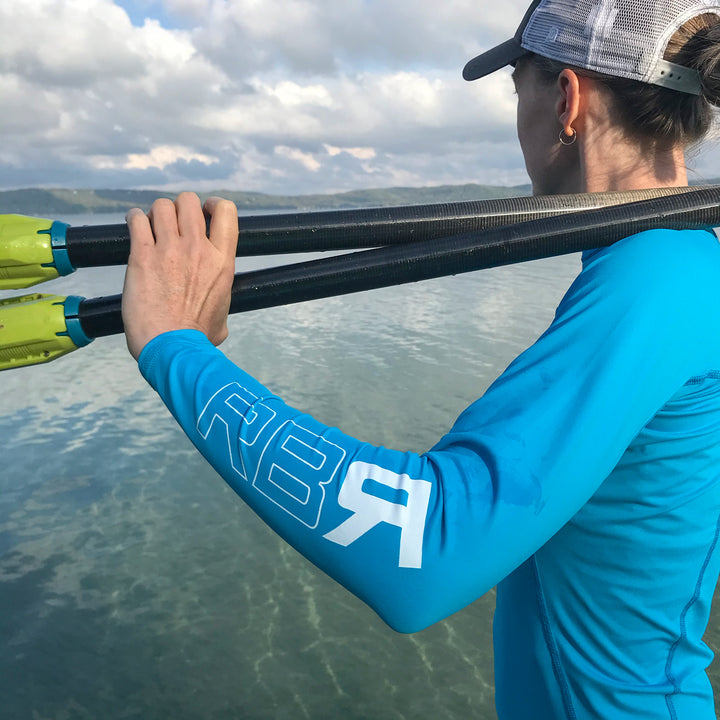 RBR 2Flex women's rash guard. UPF 50+ Wears cool, dries quick. Geared to perform and formulated for comfort at ridebackwards.com