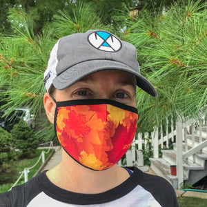 Autumn Burn performance mask, lightweight and moisture wicking, quick drying, breathable, internal slit for additional PM2.5 filter, face mask at ridebackwards.com