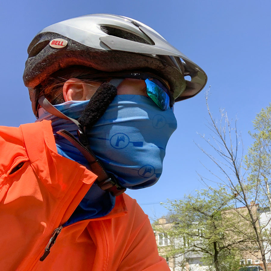 RBR Blue ultra band - neck gaiter on cyclist, lightweight and moisture wicking, quick-drying fabric at ridebackwards.com