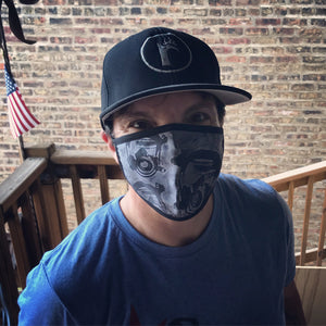 SmokeEater performance face mask on model, lightweight and moisture wicking, quick-drying and breathable at ridebackwards.com