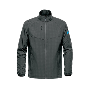 Men's cut Kyoto jacket, wind resistive, stretch pocketed training jacket with waffle fleece interior, zip side pockets, internal pockets and media port at ridebackwards.com