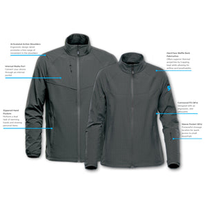 Diagram of features for men's & women's Kyoto Jacket at ridebackwards.com