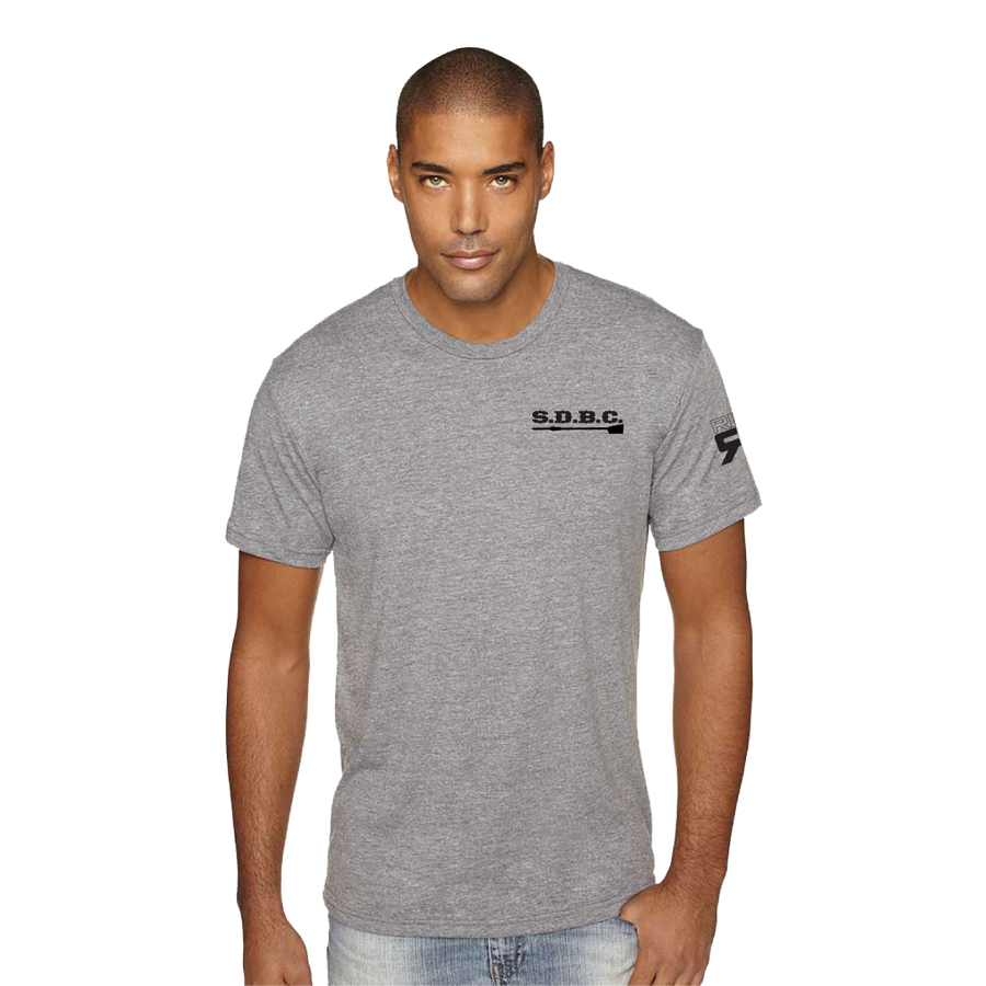 SDBC triblend tee model front - ridebackwards.com