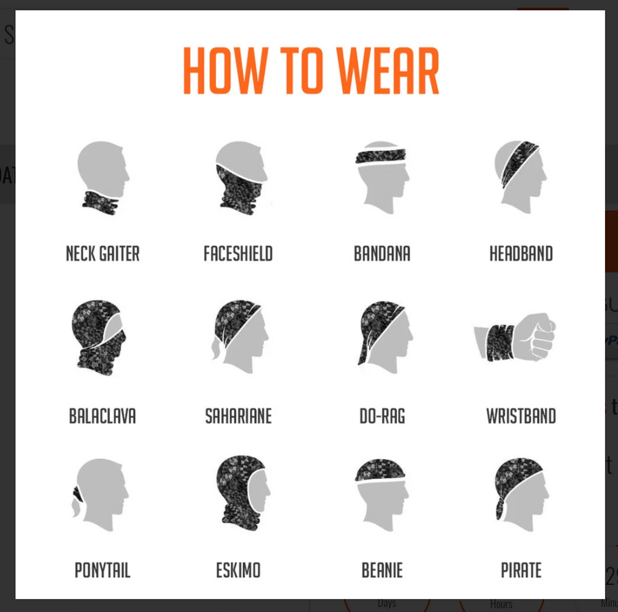 How to wear Ultra Band - neck gaiter chart at ridebackwards.com