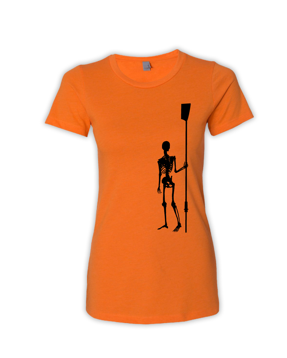 Women's orange Rower de los Muertos tee front