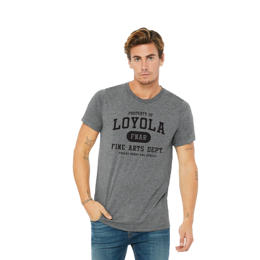 Loyola FNAR triblend tee on male model
