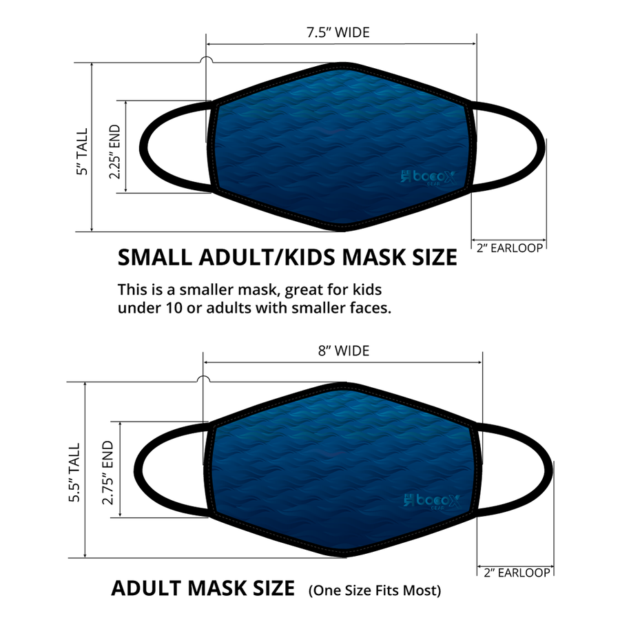 Dimensions for the Make Waves X lightweight, moisture-wicking performance face mask with internal pocket for additional PM2.5 filter, quick-drying, easy breathing at ridebackwards.com
