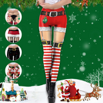 Pink Queen Women's Chic Ugly Santa Christmas Leggings Funny Costume Tights