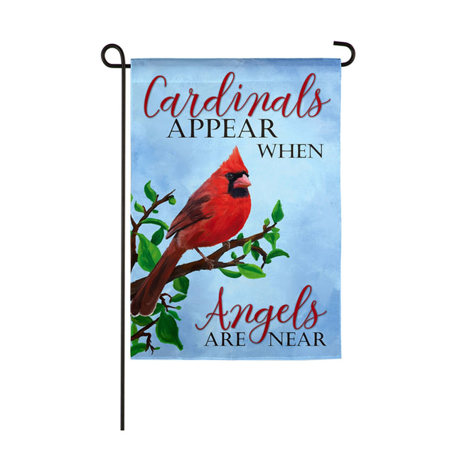 Cardinals Appear When Angels are Near Garden Flag with a winter cardinal
