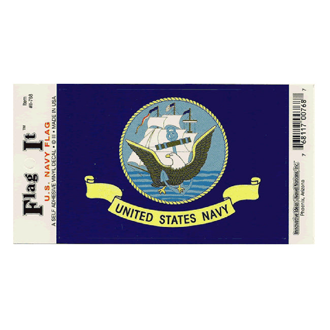 Waterproof peel-and-stick U.S. Navy flag decal from Fly Me Flag