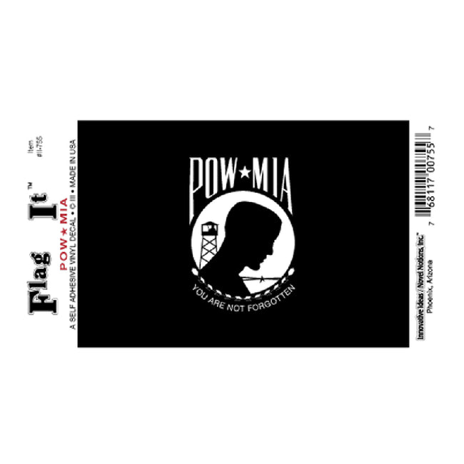 Waterproof peel-and-stick POW-MIA flag decal from Fly Me Flag