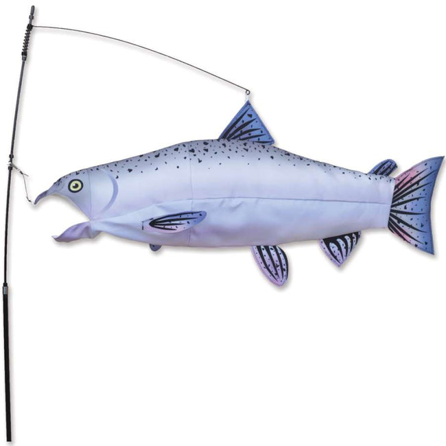 The salmon swimming fish is a cross between a weather vane, a windsock, and a pet. These fish fill up with air, bob and weave, and wag their tags just like real fish!