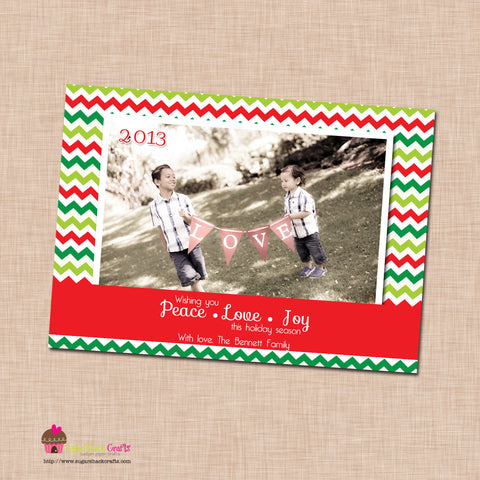 DIY - Printable Peace Love Joy Chevron Christmas Photo Card