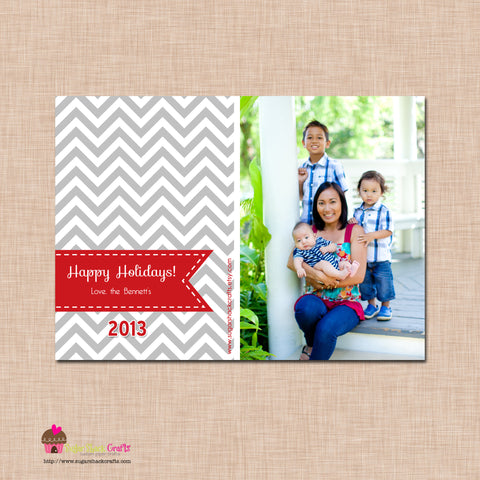 DIY - Printable Gray Chevron Print Christmas Photo Card
